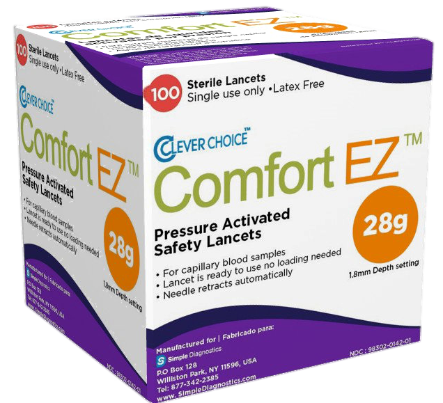 Comfort EZ 28G 100 count Safety lancets 3d NO BACKGROUND