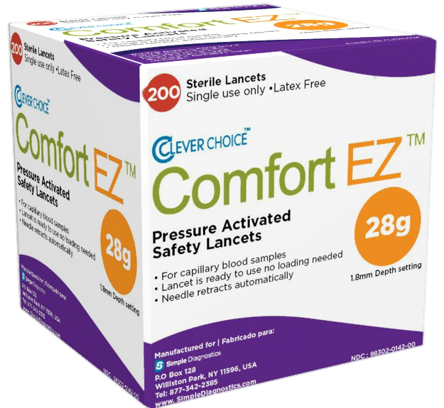 Comfort EZ 28G 200 count Safety lancets 3d box NO Background